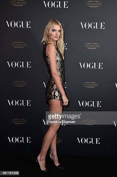 Lily Donaldson attends the Vogue 95th Anniversary Party on October 3 2015 in Paris France