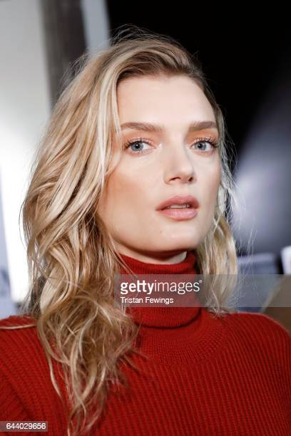 Lily Donaldson is seen backstage ahead of the Max Mara show during Milan Fashion Week Fall/Winter 2017/18 on February 23 2017 in Milan Italy