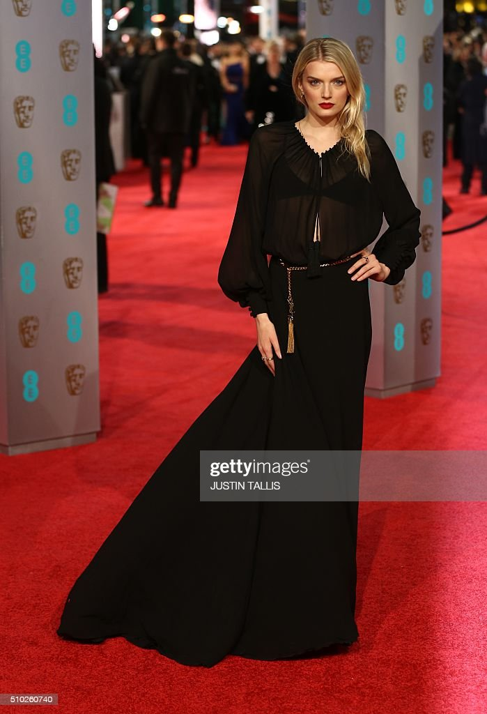 Lily Donaldson poses on arrival for the BAFTA British Academy Film Awards at the Royal Opera House in London on February 14, 2016. TALLIS