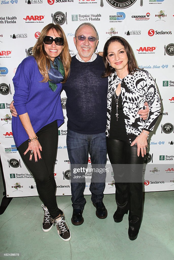 Lily Estefan, <a gi-track='captionPersonalityLinkClicked' href=/galleries/search?phrase=Emilio+Estefan&family=editorial&specificpeople=210517 ng-click='$event.stopPropagation()'>Emilio Estefan</a> and <a gi-track='captionPersonalityLinkClicked' href=/galleries/search?phrase=Gloria+Estefan&family=editorial&specificpeople=201703 ng-click='$event.stopPropagation()'>Gloria Estefan</a> attend the Gloria & <a gi-track='captionPersonalityLinkClicked' href=/galleries/search?phrase=Emilio+Estefan&family=editorial&specificpeople=210517 ng-click='$event.stopPropagation()'>Emilio Estefan</a> Host 6th Annual Thanksgiving Day 'Feed A Friend' Event at Bongos Cuban Cafe at Bongos on November 28, 2013 in Miami, Florida.