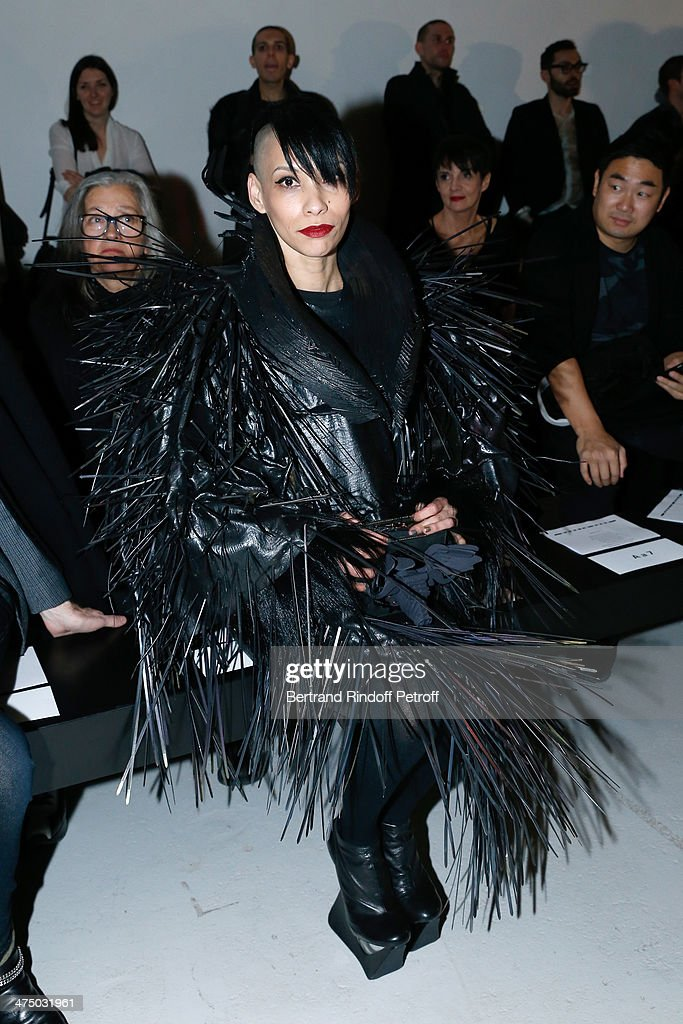 Lily Gatins attends the Gareth Pugh show as part of the Paris Fashion Week Womenswear Fall/Winter 2014-2015 on February 26, 2014 in Paris, France.
