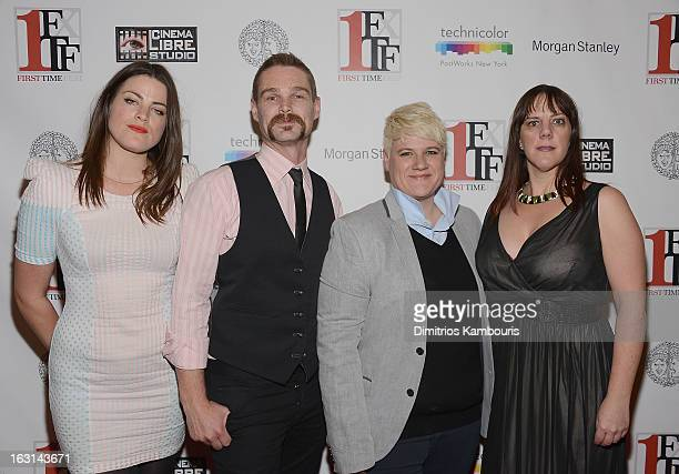 Lily Hall and Kevin Dee and cowriters director Sophie O'Connor and Kat Holmes attend the closing night awards during the 2013 First Time Fest at THE...