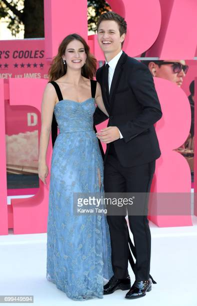 Lily James and Ansel Elgort attend the European premiere of 'Baby Driver' at Cineworld Leicester Square on June 21 2017 in London United Kingdom