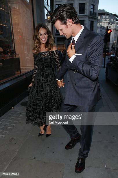 Lily James and Matt Smith arriving at My Burberry Black Launch Party on August 22 2016 in London England