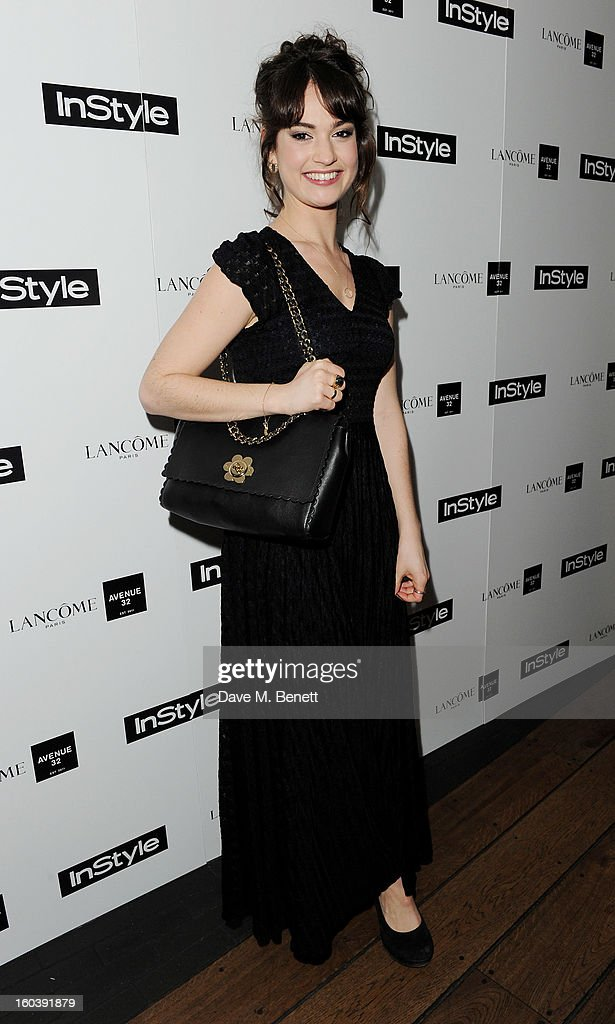 Lily James arrives at the InStyle Best Of British Talent party in association with Lancome and Avenue 32 at Shoreditch House on January 30, 2013 in London, England.
