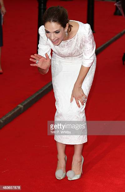 Lily James attends as BAFTA celebrate 'Downton Abbey' at Richmond Theatre on August 11 2015 in Richmond England