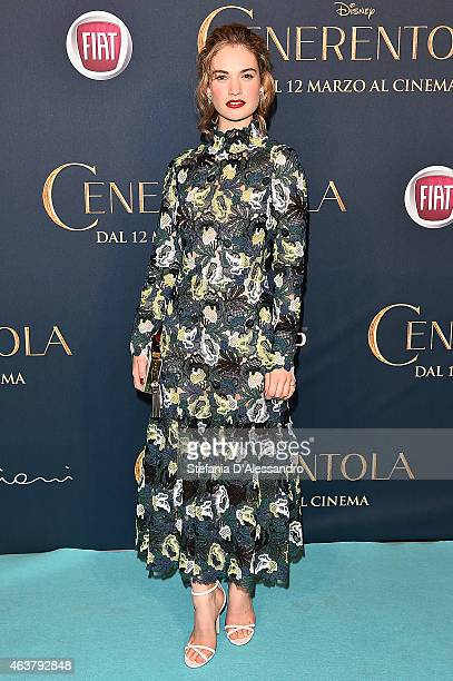Lily James attends 'Cinderella' Screening held at Cinema Odeon on February 18 2015 in Milan Italy