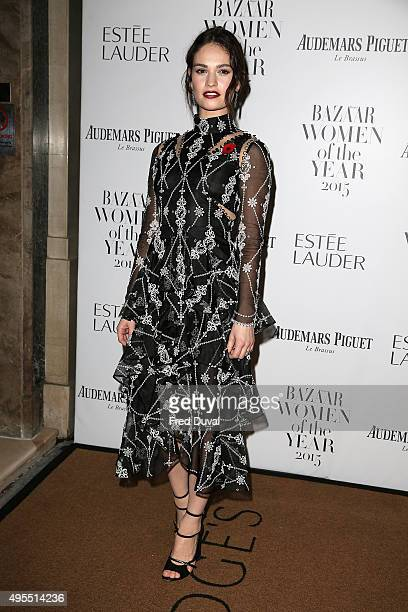Lily James attends Harper's Bazaar Women of the Year Awards at Claridge's Hotel on November 3 2015 in London England