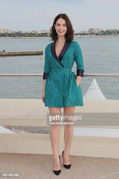 Lily James attends 'Harvey Weinstein' photocall on La Croisette on October 5 2015 in Cannes France