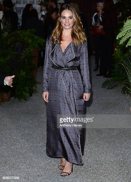 Lily James attends the Burberry show during London Fashion Week Spring/Summer collections 2017 on September 19 2016 in London United Kingdom