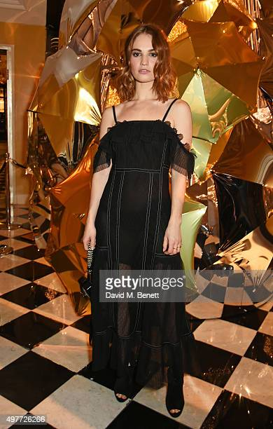 Lily James attends the Claridge's Christmas Tree Party 2015 designed by Christopher Bailey for Burberry at Claridge's Hotel on November 18 2015 in...