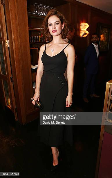 Lily James attends the Downton Abbey wrap party at The Ivy on August 15 2015 in London England