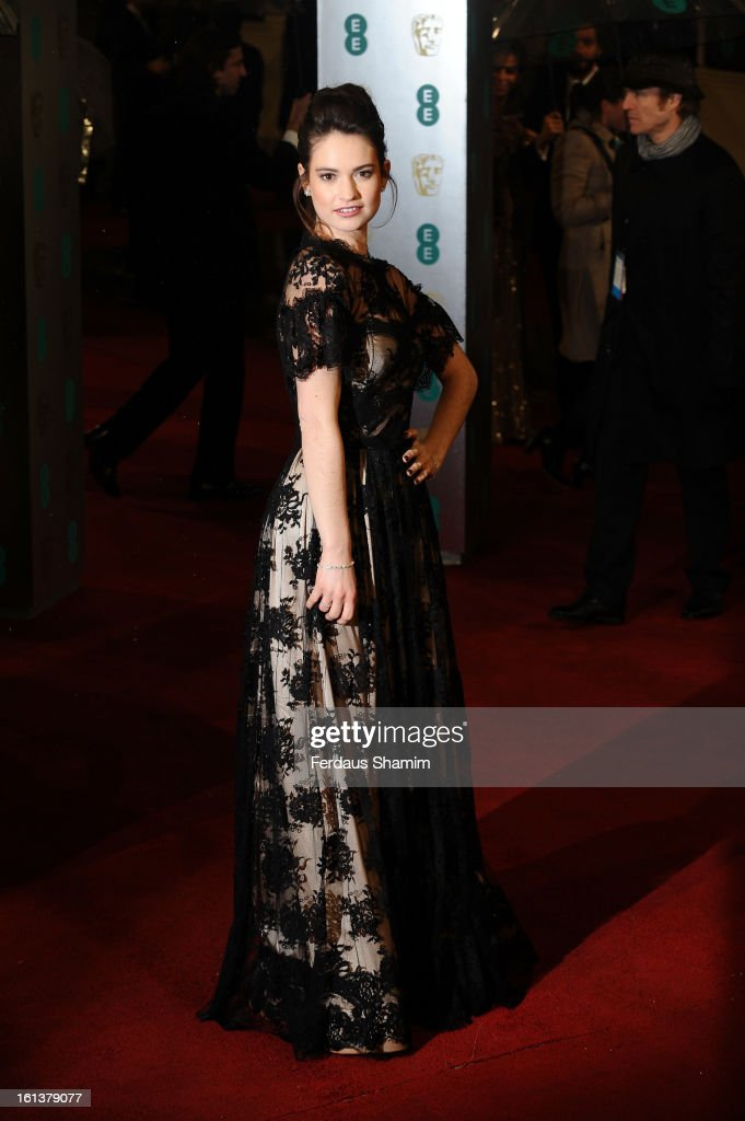 Lily James attends the EE British Academy Film Awards at The Royal Opera House on February 10, 2013 in London, England.