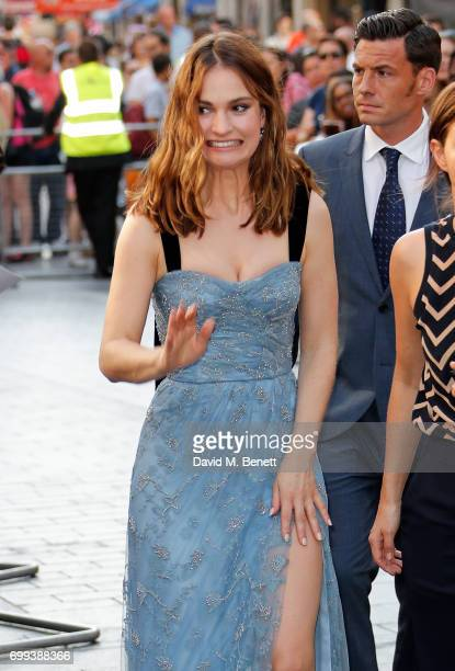 Lily James attends the European Premiere of 'Baby Driver' at Cineworld Leicester Square on June 21 2017 in London United Kingdom