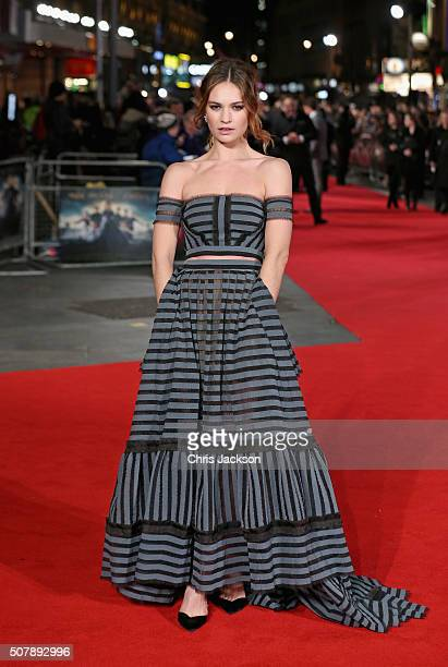 Lily James attends the European premiere of 'Pride And Prejudice And Zombies' at Vue West End on February 1 2016 in London England