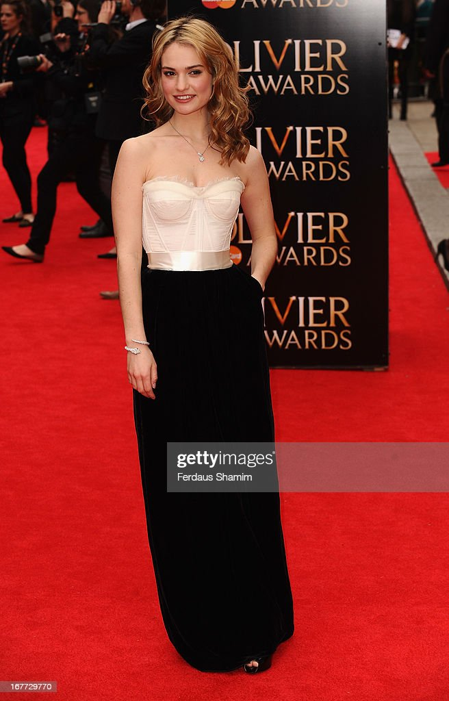 Lily James attends The Laurence Olivier Awards at The Royal Opera House on April 28, 2013 sLondon, England.