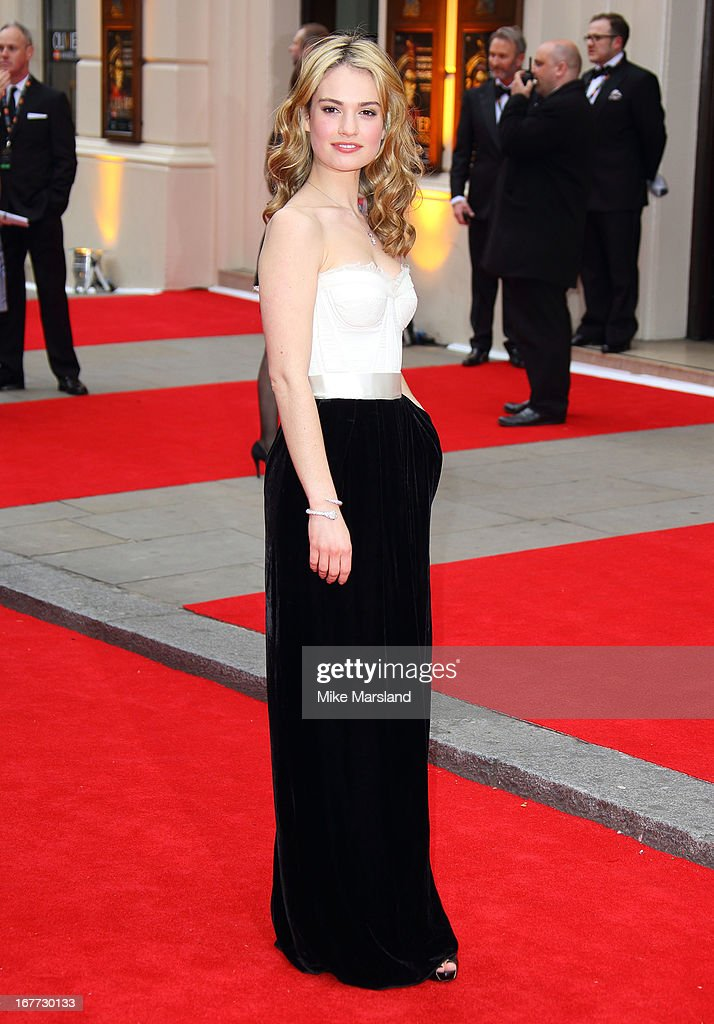 Lily James attends The Laurence Olivier Awards at The Royal Opera House on April 28, 2013 in London, England.