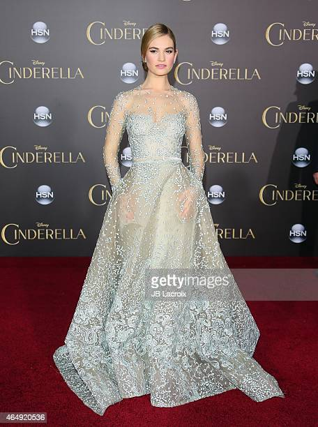 Lily James attends the premiere of Disney's 'Cinderella' at the El Capitan Theatre on March 1 2015 in Hollywood California