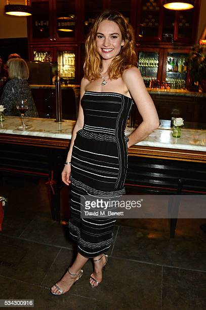 Lily James attends the press night after party for The Kenneth Branagh Theatre Company's 'Romeo And Juliet' at The The National Cafe on May 25 2016...