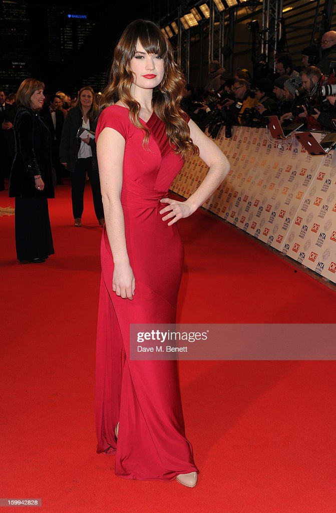 Lily James attends the the National Television Awards at 02 Arena on January 23, 2013 in London, England.