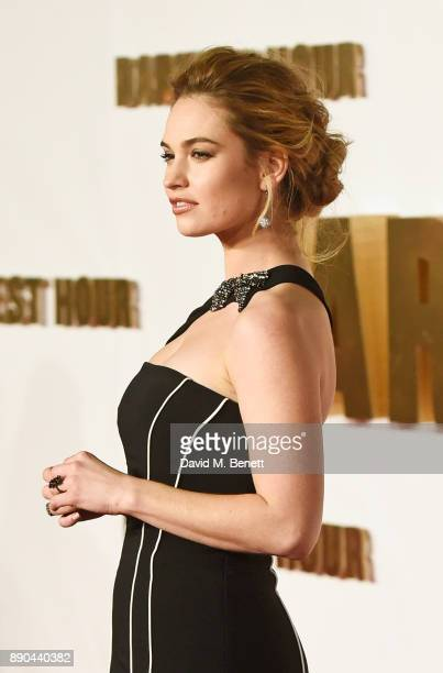 Lily James attends the UK Premiere of 'Darkest Hour' at Odeon Leicester Square on December 11 2017 in London England
