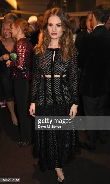 Lily James attends 'Up Next The National Theatre's Annual Fundraising Gala' at The National Theatre on March 7 2017 in London England