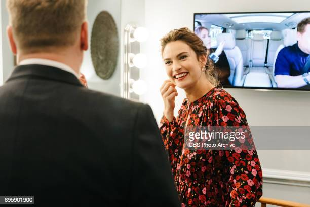 Lily James chats in the green room with James Corden during 'The Late Late Show with James Corden' Tuesday June 13 2017 On The CBS Television Network