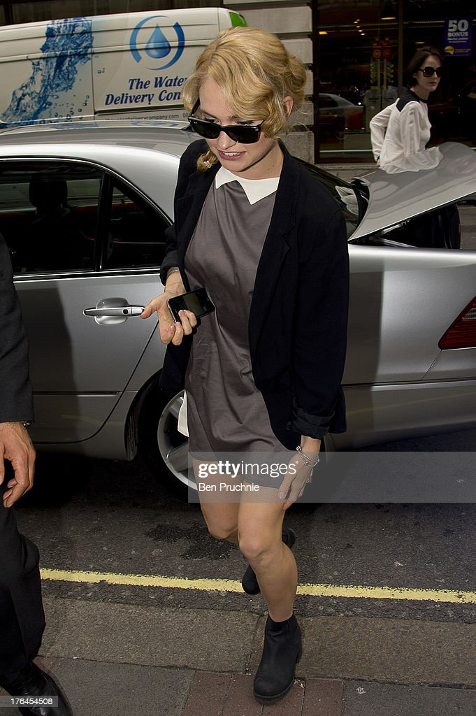 Lily James sighted arriving at The Mayfair Hotel on August 13, 2013 in London, England.