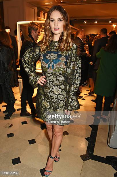 Lily James wearing Burberry attends an event to celebrate 'The Tale of Thomas Burberry' at Burberry's all day cafe Thomas's on November 1 2016 in...