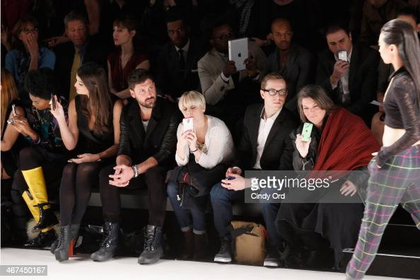 Lily Lane Maksim Chmerkovskiy and Mindy Cohn attend the Mark And Estel fashion show during MercedesBenz Fashion Week Fall 2014 at The Salon at...