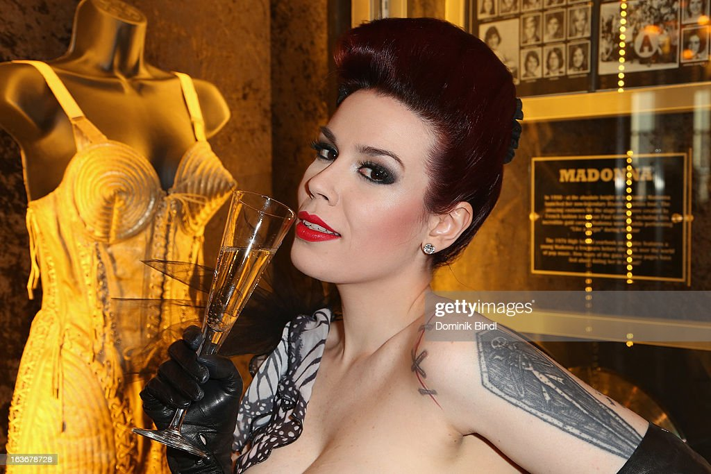 Lily of The Valley, member of the music group The Sinderellas, attends the opening of the exhibition Hard Rock Couture - Music Inspired Fashion at the Hard Rock Cafe on March 14, 2013 in Munich, Germany.