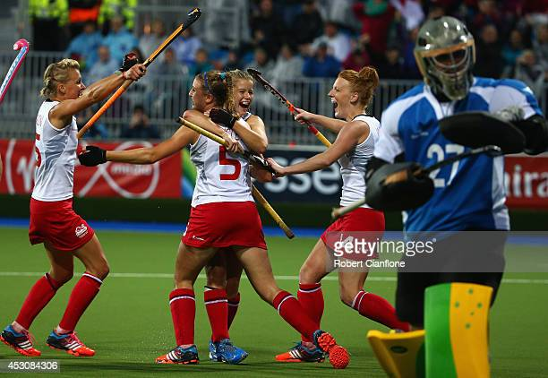 Lily Owsley of England celebrates after she scored a goal during the Women's Gold Medal Match betwen Australia and England at Glasgow National Hockey...