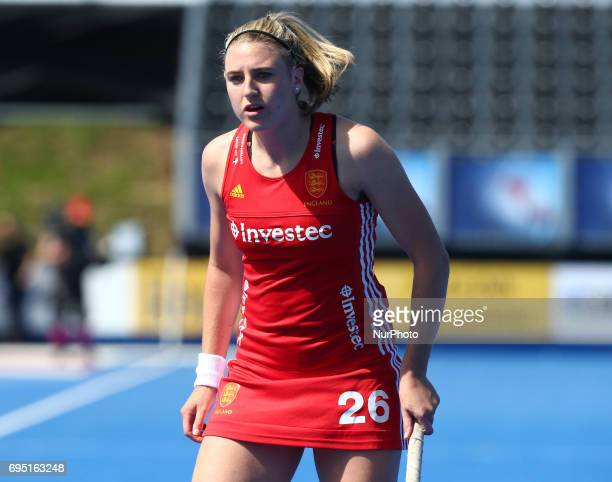 Lily Owsley of England during the Investec International match between England Women and Argentina Women at The Lee Valley Hockey and Tennis Centre...