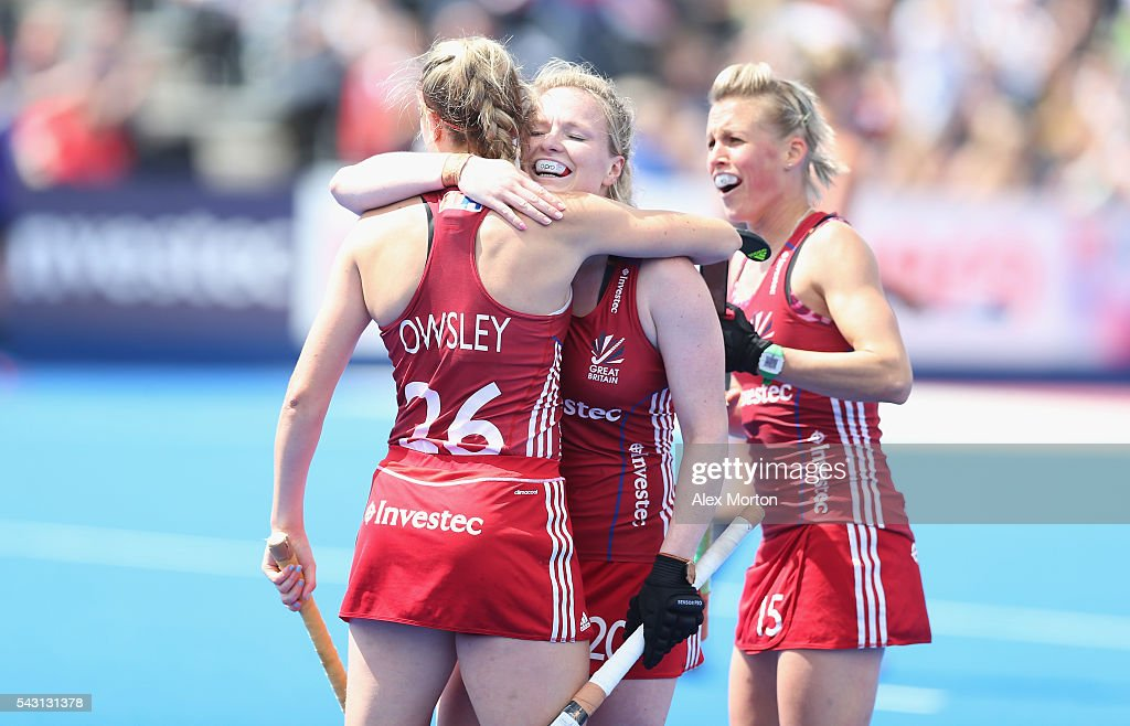 <a gi-track='captionPersonalityLinkClicked' href=/galleries/search?phrase=Lily+Owsley&family=editorial&specificpeople=9527172 ng-click='$event.stopPropagation()'>Lily Owsley</a> of Great Britain celebrates after scoring their second goal during the FIH Women's Hockey Champions Trophy 2016 match between New Zealand and Great Britain at Queen Elizabeth Olympic Park on June 26, 2016 in London, England.