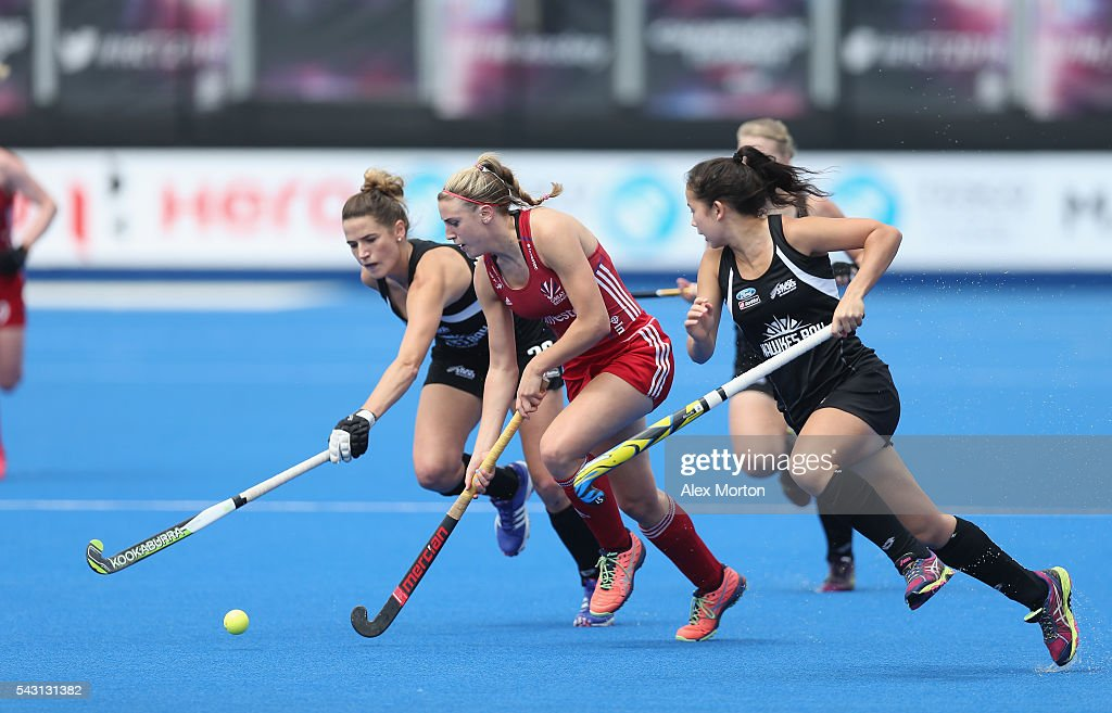 <a gi-track='captionPersonalityLinkClicked' href=/galleries/search?phrase=Lily+Owsley&family=editorial&specificpeople=9527172 ng-click='$event.stopPropagation()'>Lily Owsley</a> of Great Britain during the FIH Women's Hockey Champions Trophy 2016 match between New Zealand and Great Britain at Queen Elizabeth Olympic Park on June 26, 2016 in London, England.