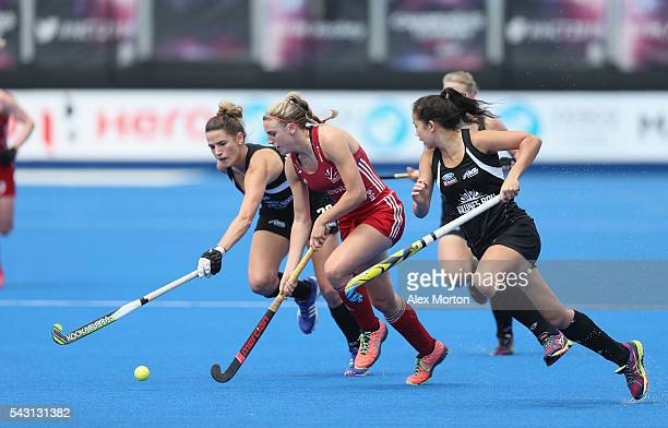 Lily Owsley of Great Britain during the FIH Women's Hockey Champions Trophy 2016 match between New Zealand and Great Britain at Queen Elizabeth...