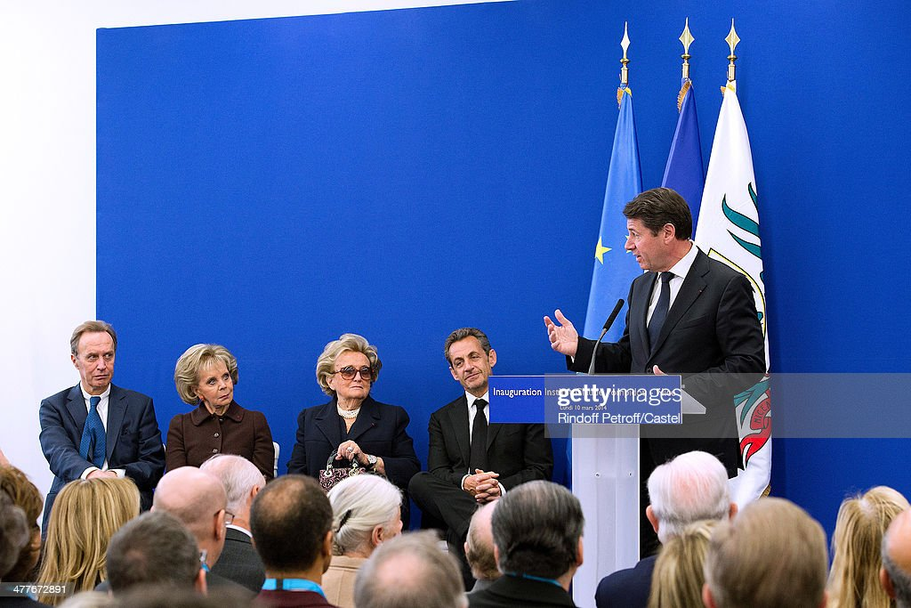 Lily Safra, Bernadette Chirac, Nicolas Sarkozy and Mayor of Nice Christian Estrosi attend the inauguration of the Claude Pompidou Institute dedicated to the fight against Alzheimer's disease. In Nice, on March 10, 2014.