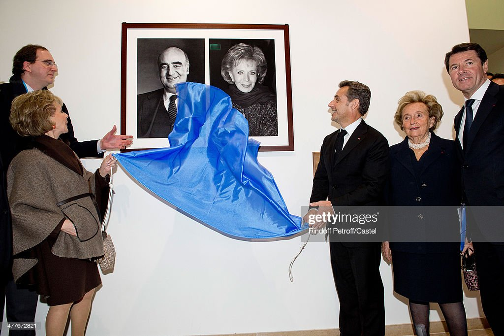 Lily Safra, Nicolas Sarkozy, Bernadette Chirac and Mayor of Nice Christian Estrosi attend the inauguration of the Claude Pompidou Institute dedicated to the fight against Alzheimer's disease. In Nice, on March 10, 2014