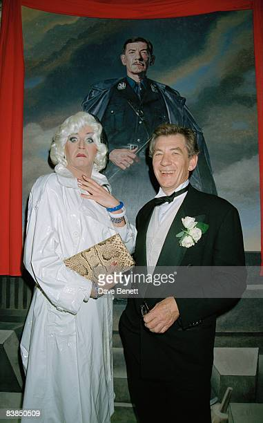 Lily Savage with Sir Ian McKellen at the afterparty for 'Richard III' at the Waldorf Hotel in London 23rd April 1996