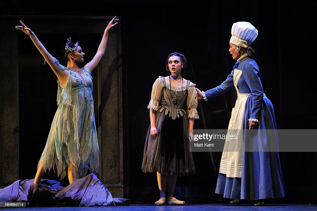 Lily Spencer as the Fairy Godmother, Daniela Oddi as Cinderella and Jane Wymark as the Narrator perform during the dress rehearsal for the English National Ballet's 'My First Cinderella' at The Peacock Theatre on March 26, 2013 in London, England.