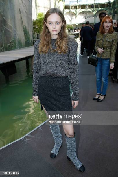 Lily Taieb attends the Chanel show as part of the Paris Fashion Week Womenswear Spring/Summer 2018 on October 3 2017 in Paris France