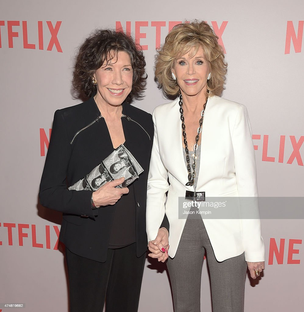 Lily Tomlin and Jane Fonda attend Netflix's 'Grace Frankie' QA Screening Event at Pacific Design Center on May 26 2015 in West Hollywood California
