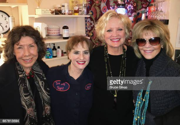Lily Tomlin Patti LuPone Christine Ebersole and Jane Fonda pose backtage at the musical 'War Paint' on Broadway at The Nederlander Theatre on March...