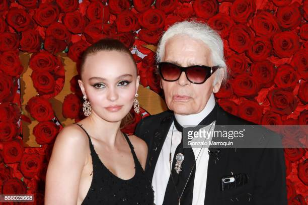 LilyRose Depp and Karl Lagerfeld attend the 2017 WWD Honors at The Pierre Hotel on October 24 2017 in New York City