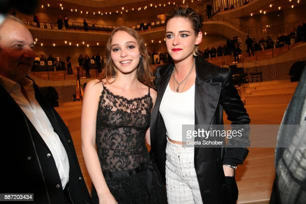 LilyRose Depp and Kristen Stewart during the Chanel 'Trombinoscope' Collection des Metiers d'Art 2017/18 photo call at Elbphilharmonie on December 6...
