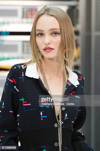 LilyRose Depp attends the Chanel show as part of the Paris Fashion Week Womenswear Spring/Summer 2017 on October 4 2016 in Paris France