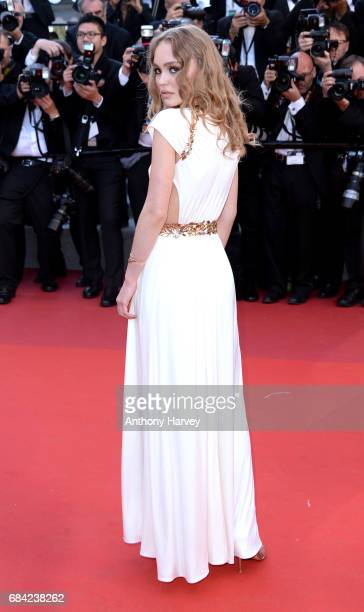 LilyRose Depp attends the 'Ismael's Ghosts ' screening and Opening Gala during the 70th annual Cannes Film Festival at Palais des Festivals on May 17...