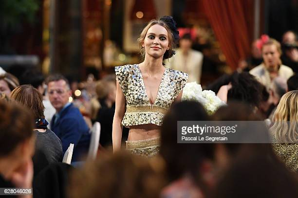 LilyRose Depp walks the runway during 'Chanel Collection des Metiers d'Art 2016/17 Paris Cosmopolite' show on December 6 2016 in Paris France