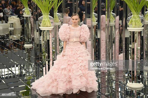 LilyRose Depp walks the runway during the Chanel Haute Couture Spring Summer 2017 show as part of Paris Fashion Week on January 24 2017 in Paris...