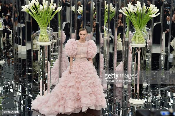 LilyRose Depp walks the runway during the Chanel Spring Summer 2017 show as part of Paris Fashion Week on January 24 2017 in Paris France